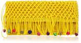Sensi Studio Yellow Fringe Toquilla Straw and Macrame Pompom Clutch Bag