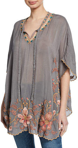 Johnny Was Antoinette Split-Neck Short-Sleeve Georgette Top w/ Embroidery