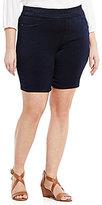 Intro Plus Sheri Pintuck Pull-On Denim Bermuda Shorts