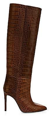 Paris Texas Women's Knee-High Croc-Embossed Leather Boots