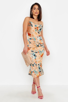 boohoo Satin Floral Cowl Flute Hem Slip Dress