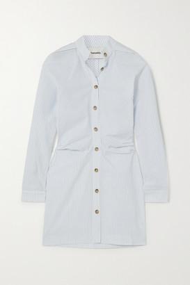Nanushka Violet Ruched Pinstriped Cotton-poplin Shirt Dress - Light blue