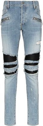 Balmain Distressed Skinny Biker Jeans