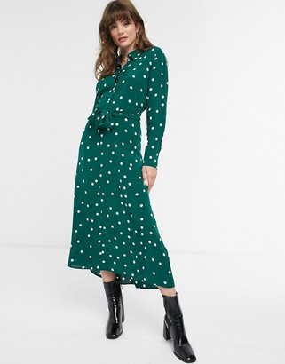 And other stories & polka dot tie-front midi shirt dress in dark green