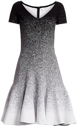 Oscar de la Renta Glitter Ombre V-Neck Short-Sleeve A-Line Flounce Dress