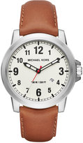 Michael Kors Men's Paxton Luggage Leather Strap Watch 43mm MK8531