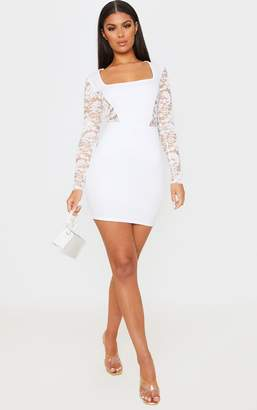PrettyLittleThing White Lace Sleeve Insert Square Neck Bodycon Dress
