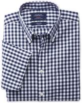 Charles Tyrwhitt Classic fit non-iron poplin short sleeve navy check shirt