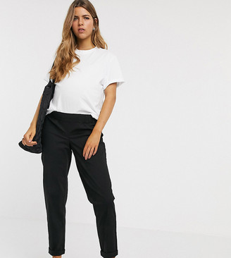 ASOS DESIGN Maternity chino trousers in black with under the bump waistband