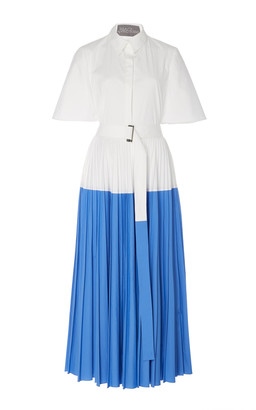 Lela Rose Pleated Color-Blocked Cotton Cape-Back Shirt Dress