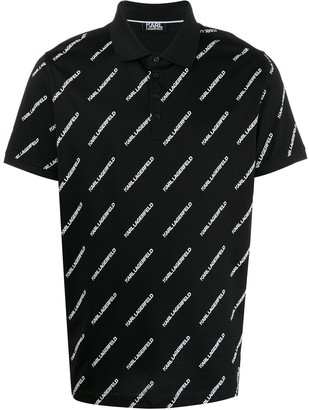 Karl Lagerfeld Paris Logo-Print Polo Shirt