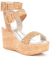 Donald J Pliner Cyndi Distressed Woven Metallic Platform Wedge Sandals