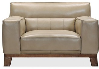 """Hooker Furniture 51.25"""" W Top Grain Leather Club Chair Fabric: Taupe Genuine Leather"""