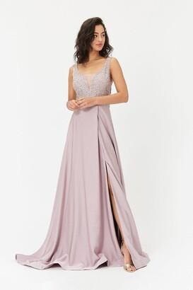 Coast Beaded Satin Maxi Dress