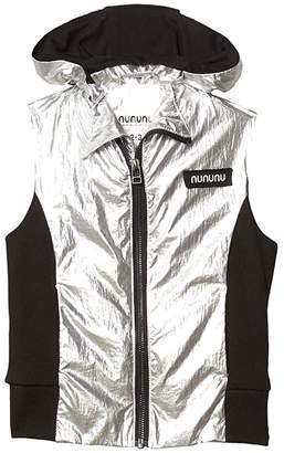 Nununu Duo Nylon Hooded Vest (Toddler/Little Kids) (Silver/Black) Boy's Clothing
