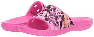 Crocs Kids Classic Printed Slide (Little Kid/Big Kid) (Electric Pink) Kid's Shoes