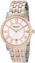 Kenneth Cole New York Women's KC4972 Classic Silver Dial Roman Numerals Stone Bezel Bracelet Watch