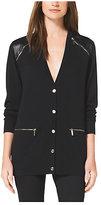 Michael Kors Leather-Panel Wool Cardigan