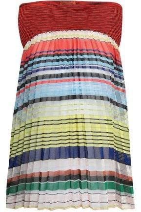 Missoni Pleated Striped Crochet-knit Top