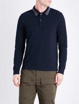 Moncler Long-sleeved cotton-piqué polo shirt