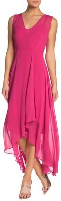 Modern American Designer Surplice Neck High/Low Hem Dress