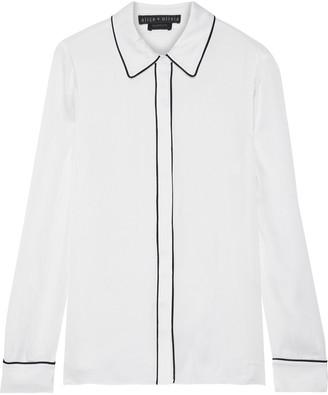 Alice + Olivia Willa Washed Stretch-silk Shirt