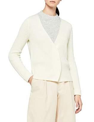 MERAKI Women's Chunky Wool-Blend Rib Cardigan,Medium