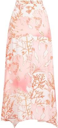 Stella McCartney Coral-Print Handkerchief-Hem Maxi-Skirt