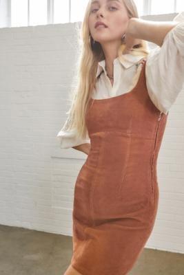 Urban Outfitters Corduroy Seamed Mini Dress - Orange XS at