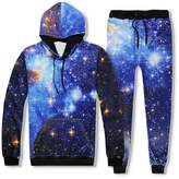 Uhomedecor Men's Emoji Joggers Sweatpants/shirts Galaxy Blue Sportswear Gym Sport