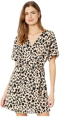 American Rose Lyla Short Sleeve Leopard Print Wrap Dress (Taupe/Black) Women's Dress