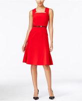Calvin Klein Notched Belted A-Line Dress