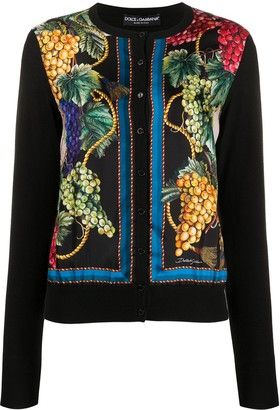 Dolce & Gabbana Fruit-Pattern Round-Neck Cardigan