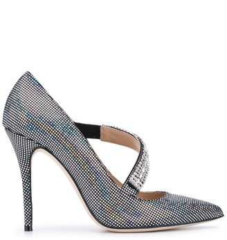 Alessandra Rich Crystal-Embellished High-Heel Pumps