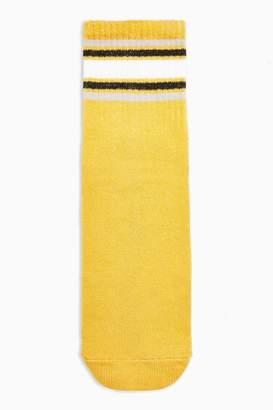 Topshop Womens Mustard Socks With White Stripe - Mustard