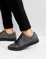 Religion Crack Print Trainers In Black