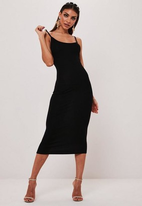 Missguided Black Basic Cami Bodycon Midi Dress