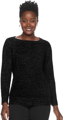 Croft & Barrow Women's Lurex Boatneck Sweater
