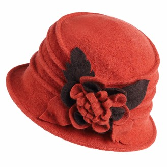 Bidetu Womens Vintage Cloche Hat 100% Wool Floral Bucket Winter Hat C020 (Orange)