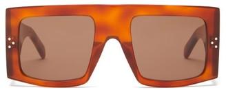 Celine Flat-top Square Acetate Sunglasses - Womens - Tortoiseshell