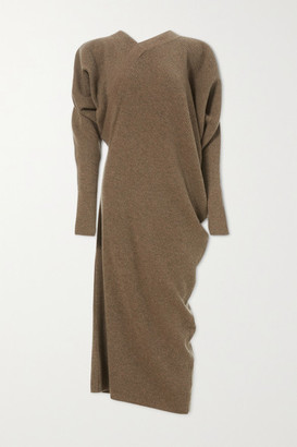 LVIR Asymmetric Ribbed Merino Wool And Cashmere-blend Midi Dress - Brown