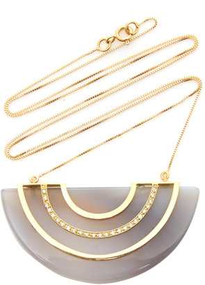 Eduarda Brunelli Orbe 18K Yellow Gold Agate and Diamond Necklace