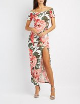 Charlotte Russe Floral Off-The-Shoulder Maxi Dress