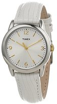 Timex Women's T2P1202M White Metallic Lizard Patterned Leather Strap Watch
