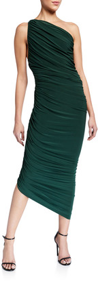 Norma Kamali Diana Ruched One-Shoulder Asymmetric Gown