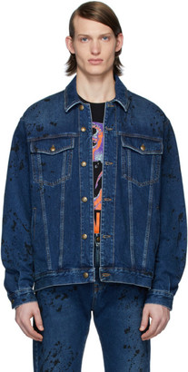 McQ Blue Denim Painted Vintage Jacket