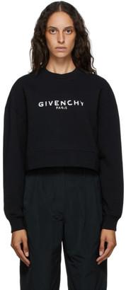 Givenchy Black Paris Logo Cropped Sweatshirt