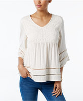 Style&Co. Style & Co Mixed-Media Peasant Top, Only at Macy's