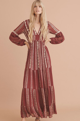 Blaise Embroidered Lace Maxi Dress By Verb by Pallavi Singhee in Purple Size 0