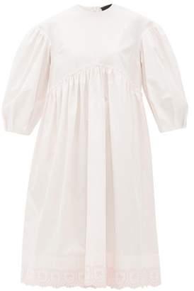 Simone Rocha Puff-sleeve Ruffled Cotton Midi Dress - Womens - Pink